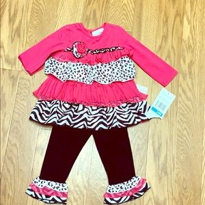 Rare Editions pink and black two piece outfit